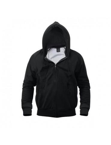 Bunda na zips s kapucňou, čierna