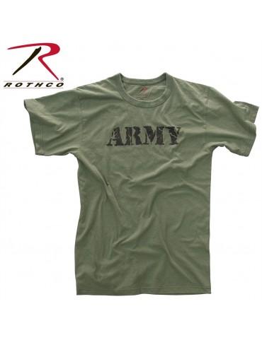 Tričko kr. rukáv Vintage s nápisom ARMY, oliv