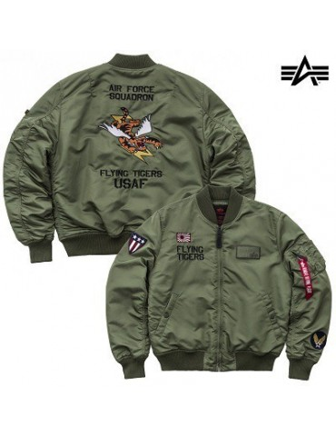 Bunda ALPHA MA-1 VF Flyning Tigers, sage green