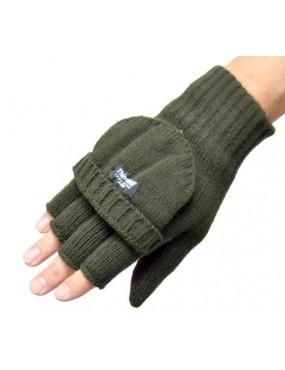Rukavice pletené so sklopkou + koža , oliv