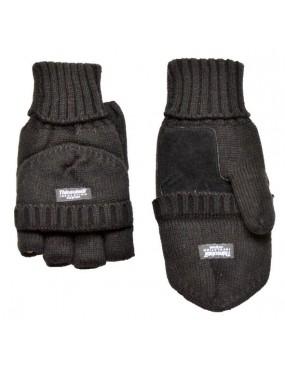 Rukavice pletené so sklopkou + koža , čierne