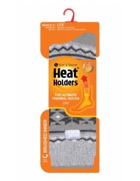 Ponožky zimné HEAT HOLDERS - pánske, vzorové šedé